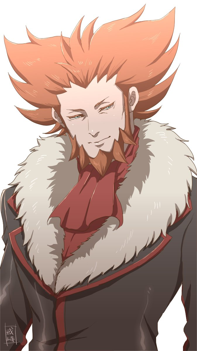 1boy black_jacket closed_mouth commentary_request facial_hair fur-trimmed_jacket fur_trim highres jacket looking_to_the_side lysandre_(pokemon) male_focus orange_hair pokemon pokemon_(game) pokemon_xy red_neckwear sanwari_(aruji_yume) simple_background solo spiky_hair team_flare upper_body white_background
