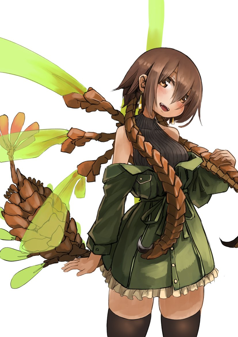 159cm 1girl :d anomalocaris antennae black_sweater brown_eyes brown_hair brown_legwear coat green_coat head_tilt insect_wings long_sleeves looking_at_viewer multiple_wings off_shoulder open_mouth original personification ribbed_sweater sharp_teeth simple_background smile solo standing sweater tail teeth thigh-highs viria_(159cm) white_background wings