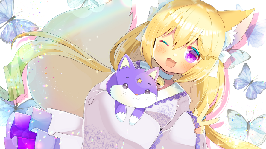 1girl ;d animal animal_ears animal_hug bangs blonde_hair blush bug butterfly cat character_request crescent crescent_hair_ornament eyebrows_visible_through_hair fang fox_ears fox_girl fox_tail hair_between_eyes hair_ornament hairclip indie_virtual_youtuber insect japanese_clothes kimono kouu_hiyoyo lace-trimmed_sleeves lace_trim long_hair long_sleeves looking_at_viewer low_twintails one_eye_closed open_mouth pinching_sleeves purple_kimono sleeves_past_fingers sleeves_past_wrists smile solo tail twintails very_long_hair violet_eyes w white_background wide_sleeves