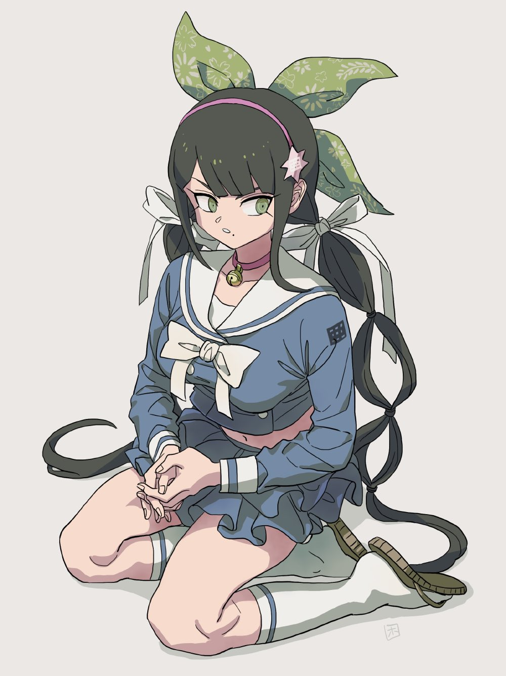 1girl bangs bell black_hair blue_shirt blunt_bangs breasts chabashira_tenko choker collarbone danganronpa_(series) danganronpa_v3:_killing_harmony green_eyes green_ribbon hair_ornament hair_ribbon hairband highres hosodayo kneehighs large_breasts layered_skirt long_hair long_sleeves low_twintails midriff mole mole_under_mouth navel neck_bell parted_lips pink_choker pink_hairband pleated_skirt ribbon school_uniform serafuku shirt sitting skirt solo twintails white_legwear