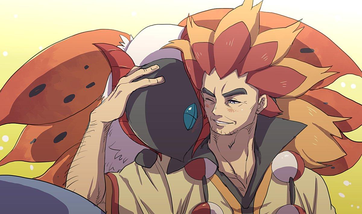 1boy alder_(pokemon) arm_hair blush commentary_request facial_hair gen_5_pokemon grey_eyes long_hair looking_to_the_side male_focus multicolored_hair one_eye_closed orange_hair parted_lips petting poke_ball pokemon pokemon_(creature) pokemon_(game) pokemon_bw poncho redhead sanwari_(aruji_yume) two-tone_hair volcarona