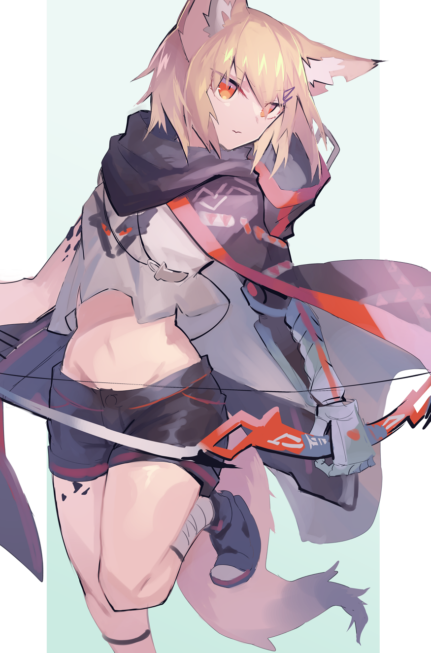 1girl animal_ear_fluff animal_ears arknights bangs black_shorts blonde_hair bow_(weapon) closed_mouth commentary_request eyebrows_visible_through_hair fox_ears fox_girl fox_tail gloves hair_between_eyes hair_ornament hairclip highres holding holding_bow_(weapon) holding_weapon looking_to_the_side midriff navel orange_eyes oripathy_lesion_(arknights) sasa_onigiri short_hair shorts solo tail vermeil_(arknights) weapon
