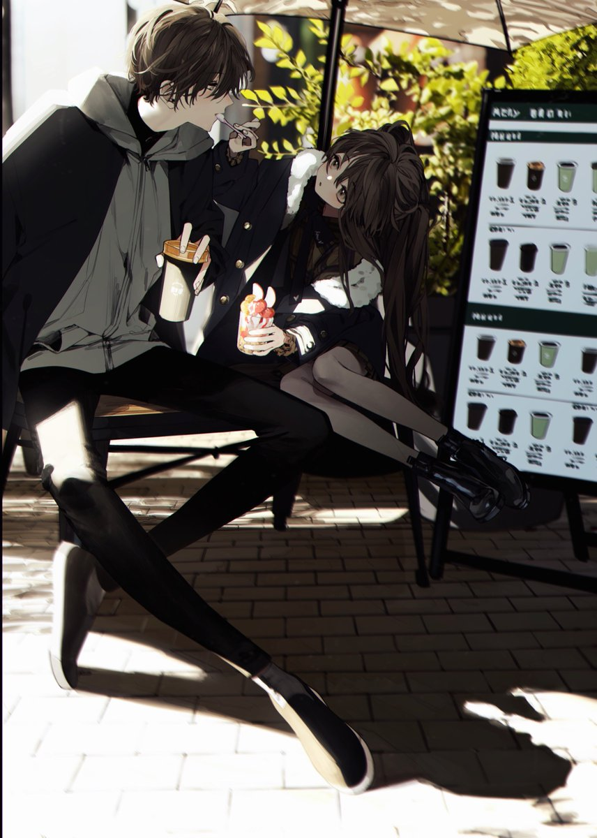1boy 1girl black_footwear black_jacket black_legwear blush brick brick_floor brown_eyes brown_hair chair cup day dessert eyebrows_visible_through_hair feeding fingernails food fur_trim grey_hoodie highres holding holding_cup holding_spoon hood hood_down hoodie jacket long_hair looking_at_another open_clothes open_jacket open_mouth original outdoors pantyhose parasol parted_lips plant ryou6631 shadow sign sitting spoon turtleneck umbrella zipper zipper_pull_tab