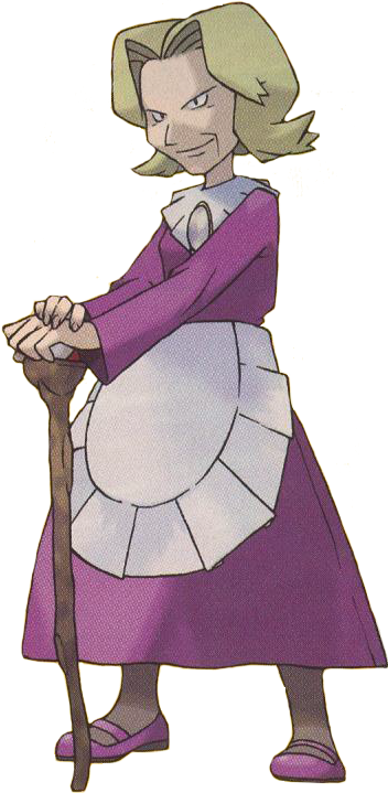 1girl agatha_(pokemon) apron black_eyes blonde_hair cane closed_mouth dress elite_four full_body hands_together holding holding_cane long_sleeves official_art old old_woman pantyhose pokemon pokemon_(game) pokemon_frlg purple_dress purple_footwear shoes short_hair smile solo standing sugimori_ken waist_apron white_apron