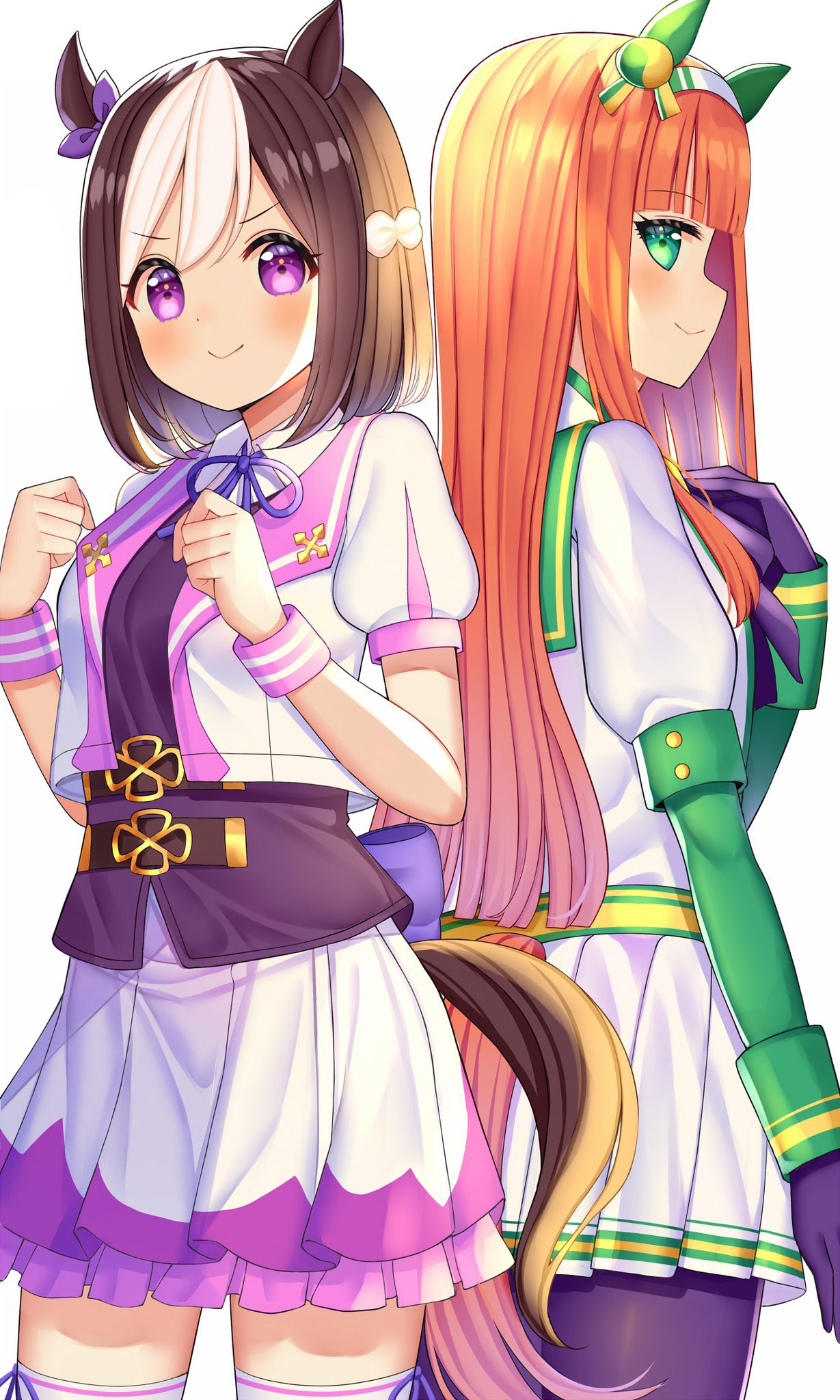 2girls animal_ears back-to-back bangs black_gloves black_legwear blunt_bangs bow brown_hair commentary_request ear_covers ear_ribbon gloves green_eyes green_sailor_collar hairband highres horse_ears horse_girl horse_tail long_hair mizukoshi_(marumi) multicolored_hair multiple_girls orange_hair pantyhose purple_bow purple_skirt sailor_collar short_hair short_sleeves silence_suzuka simple_background skirt special_week tail thigh-highs two-tone_hair umamusume violet_eyes white_background white_hair white_skirt wrist_cuffs