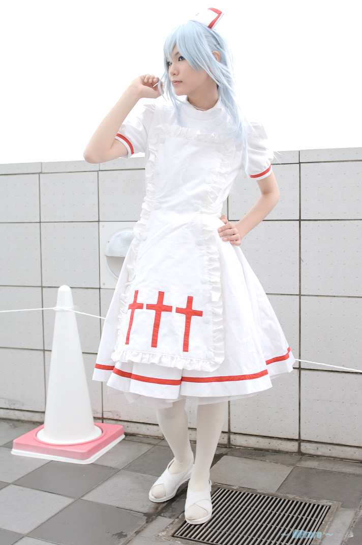 apron blue_hair cosplay kouno_tooru kouzuki_suzuka nurse nurse_uniform photo princess_princess