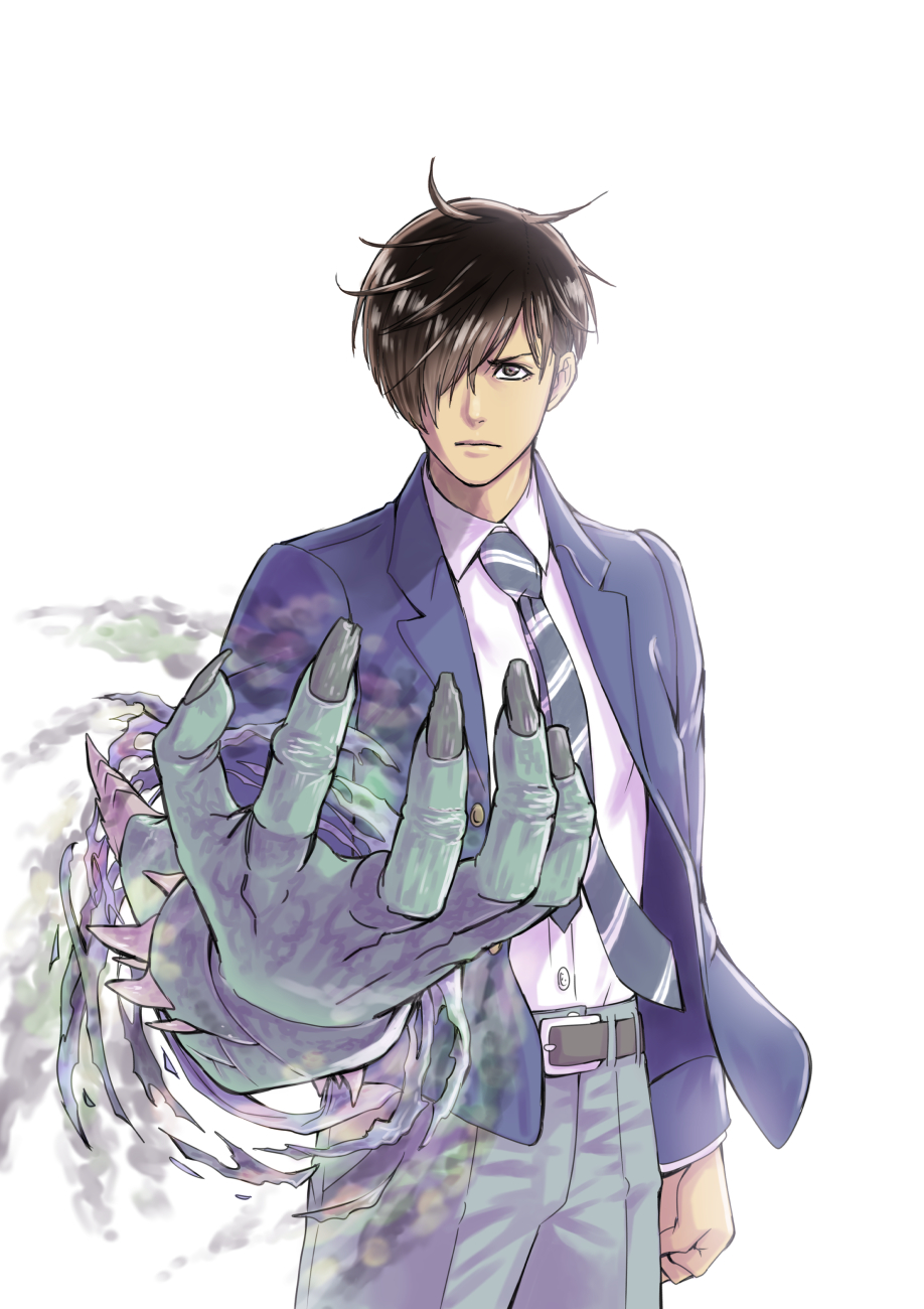 1boy aoki_masahiko aura belt brown_eyes brown_hair clenched_hand closed_mouth colored_skin dark_aura fingernails green_skin hair_over_one_eye highres long_fingernails male_focus monster necktie original school_uniform simple_background solo spikes striped striped_neckwear torn torn_clothes uniform white_background