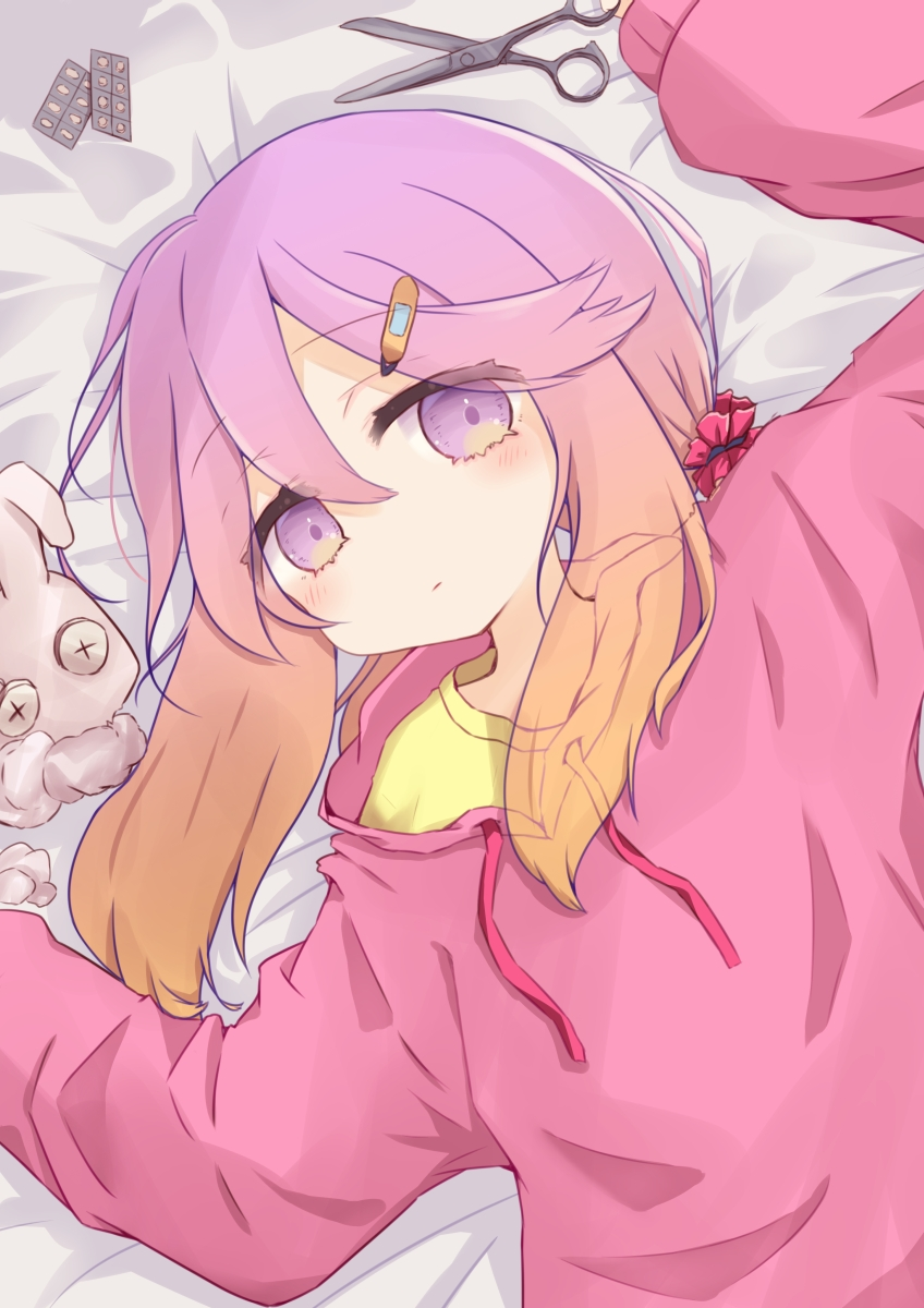 1girl arm_up bangs bed_sheet blush brown_hair closed_mouth commentary damaged drawstring eyebrows_visible_through_hair gradient_hair hair_between_eyes hair_ornament hairclip hand_up highres kantai_collection long_hair long_sleeves looking_at_viewer lying multicolored_hair on_back pill pink_sweater puffy_long_sleeves puffy_sleeves purple_hair ridy_(ri_sui) scissors shirt sleeves_past_wrists solo stuffed_animal stuffed_bunny stuffed_toy sweater symbol_commentary tsushima_(kancolle) upper_body violet_eyes yellow_shirt
