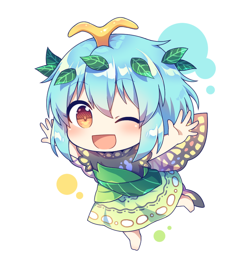 1girl antennae aqua_hair barefoot blush brown_eyes butterfly_wings caramell0501 dress eternity_larva full_body green_dress hair_ornament happy leaf leaf_hair_ornament leaf_on_head long_dress multicolored multicolored_clothes multicolored_dress one_eye_closed open_mouth outstretched_arms short_hair short_sleeves simple_background touhou white_background wings yellow_wings