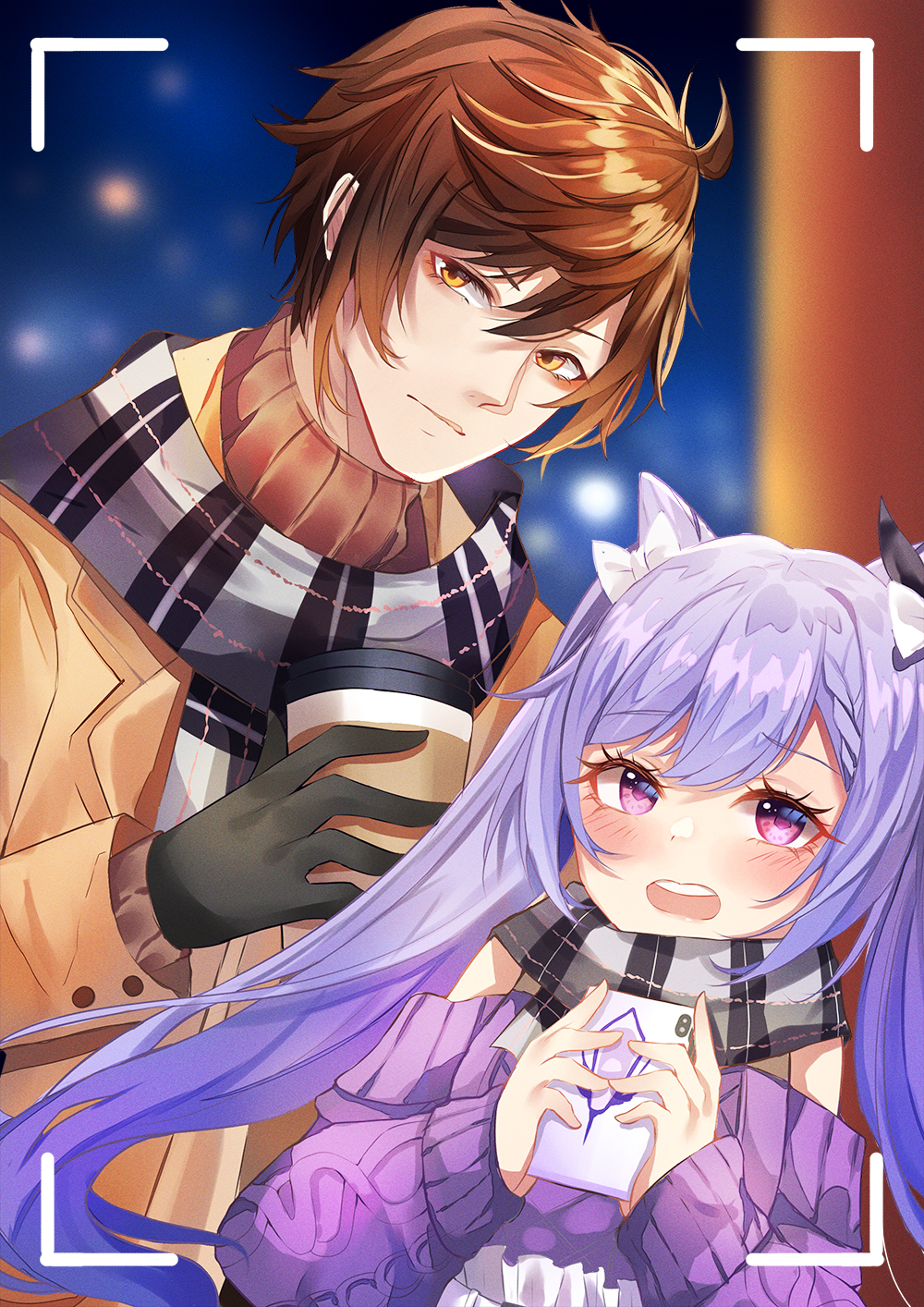 1boy 1girl black_hair blush bow braid cup double_bun eyelashes genshin_impact gloves hair_bow hair_bun half-closed_eyes haruka_ayane highres holding holding_cup holding_phone jacket keqing_(genshin_impact) long_sleeves looking_at_viewer open_clothes open_jacket phone purple_hair purple_sweater scarf skirt smile sweater twintails violet_eyes winter_clothes yellow_eyes zhongli_(genshin_impact)