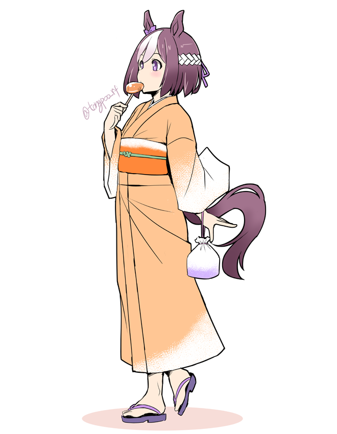 1girl animal_ears bangs brown_hair candy commentary_request eating food from_side full_body hachimaki headband heel_up holding holding_candy holding_food holding_lollipop horse_ears horse_tail japanese_clothes kimono lollipop long_sleeves multicolored_hair obi orange_kimono sandals sash short_hair solo special_week standing tail tonpuu twitter_username two-tone_hair umamusume violet_eyes white_hair white_headband wide_sleeves yukata