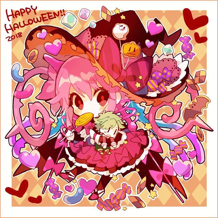 1boy 1girl 2018 bangs bow candy checkerboard_cookie chibi cookie dress food food_in_mouth halloween happy_halloween hat heart hibi89 holding holding_candy holding_food holding_lollipop jack-o'-lantern lollipop looking_at_viewer merc_storia pink_hair pink_skirt red_eyes skirt solo_focus star_(symbol) striped striped_bow swirl_lollipop twintails witch_hat |_|