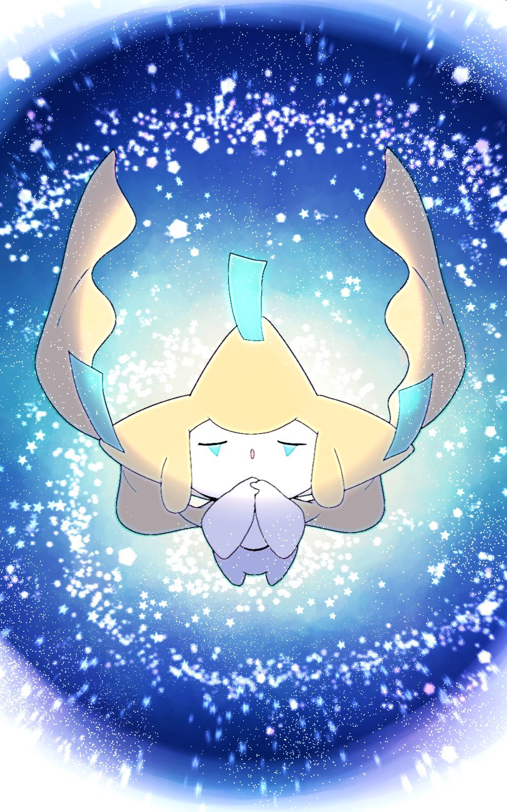 :o closed_eyes commentary_request full_body gen_3_pokemon hands_together head_back highres jirachi mythical_pokemon no_humans open_mouth pokemon pokemon_(creature) remon_(920moomin) solo star_(symbol)