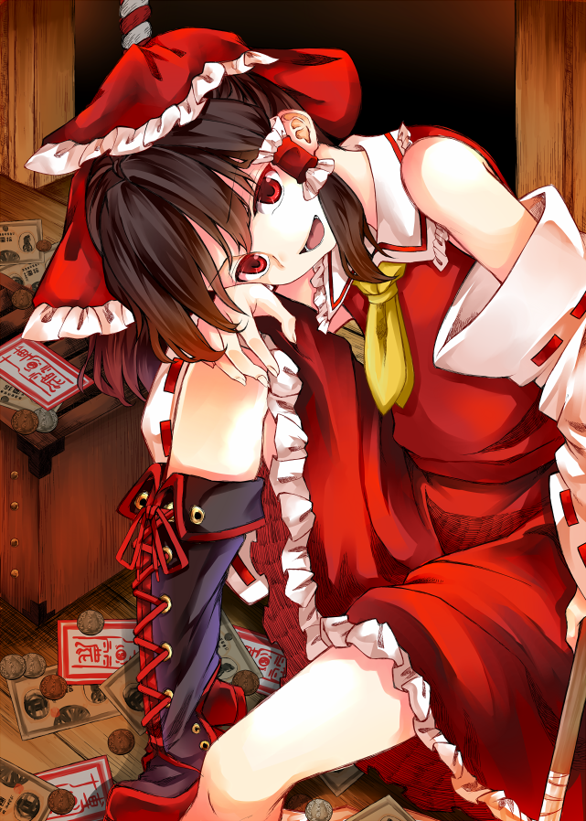 1girl ascot boots bow box brown_hair coin cross-laced_footwear detached_sleeves donation_box dress eyebrows_visible_through_hair frilled_skirt frills hair_bow hair_tubes hakurei_reimu lace-up_boots looking_at_viewer money nontraditional_miko open_mouth red_dress red_eyes red_headwear red_skirt short_hair skirt smile solo touhou two-tone_footwear wooden_floor yellow_neckwear zetsumame