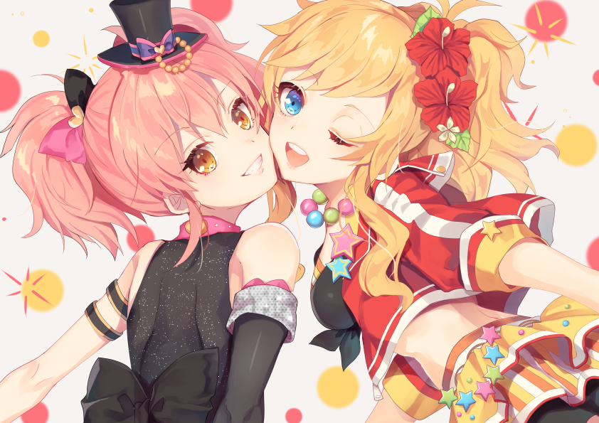 2girls ;d arm_strap asymmetrical_sleeves black_bow black_headwear black_sleeves blonde_hair blue_eyes bow detached_sleeves floating_hair flower grey_background grin hair_bow hair_flower hair_ornament hat hibiscus idolmaster idolmaster_cinderella_girls jacket jougasaki_mika kurotea long_hair looking_at_viewer looking_back midriff mini_hat multiple_girls one_eye_closed ootsuki_yui open_clothes open_jacket open_mouth pink_bow pink_hair red_flower red_jacket shiny shiny_hair single_sleeve smile twintails two-tone_bow upper_body yellow_eyes