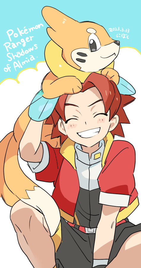 1boy bangs belt blush brown_hair buizel clenched_teeth closed_eyes commentary_request copyright_name dated gen_4_pokemon gloves grin jacket keith_(pokemon_ranger_2) male_focus nibo_(att_130) on_head open_clothes open_jacket parted_bangs pokemon pokemon_(creature) pokemon_(game) pokemon_on_head pokemon_ranger pokemon_ranger_2 red_jacket short_sleeves shorts smile spread_legs teeth