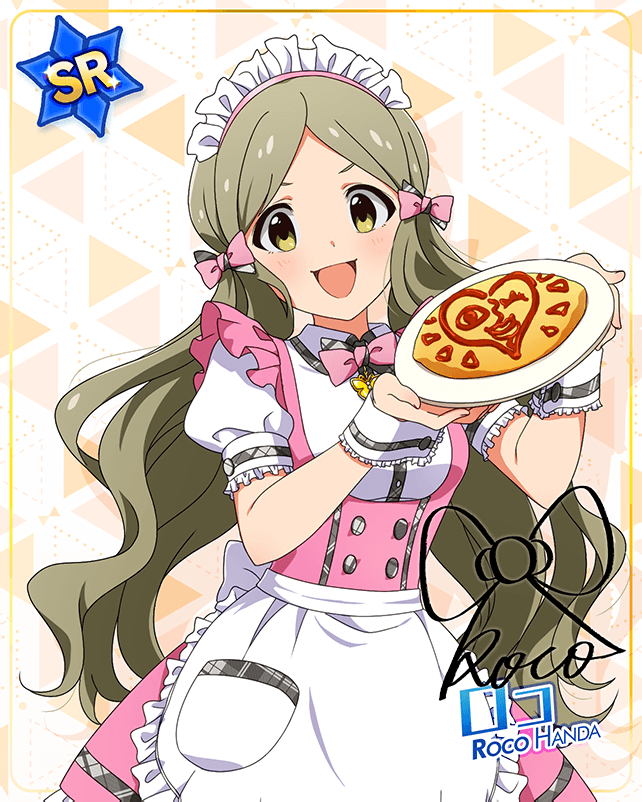 1girl :d blush bow bowtie butterfly butterfly_ornament buttons character_name dress food green_hair handa_roko hexagram idolmaster_million_live!_theater_days ketchup long_hair maid_dress maid_headdress pink_bow pink_bowtie ribbon smile tamagoyaki triangle twintails white_ribbon yellow_butterfly yellow_eyes