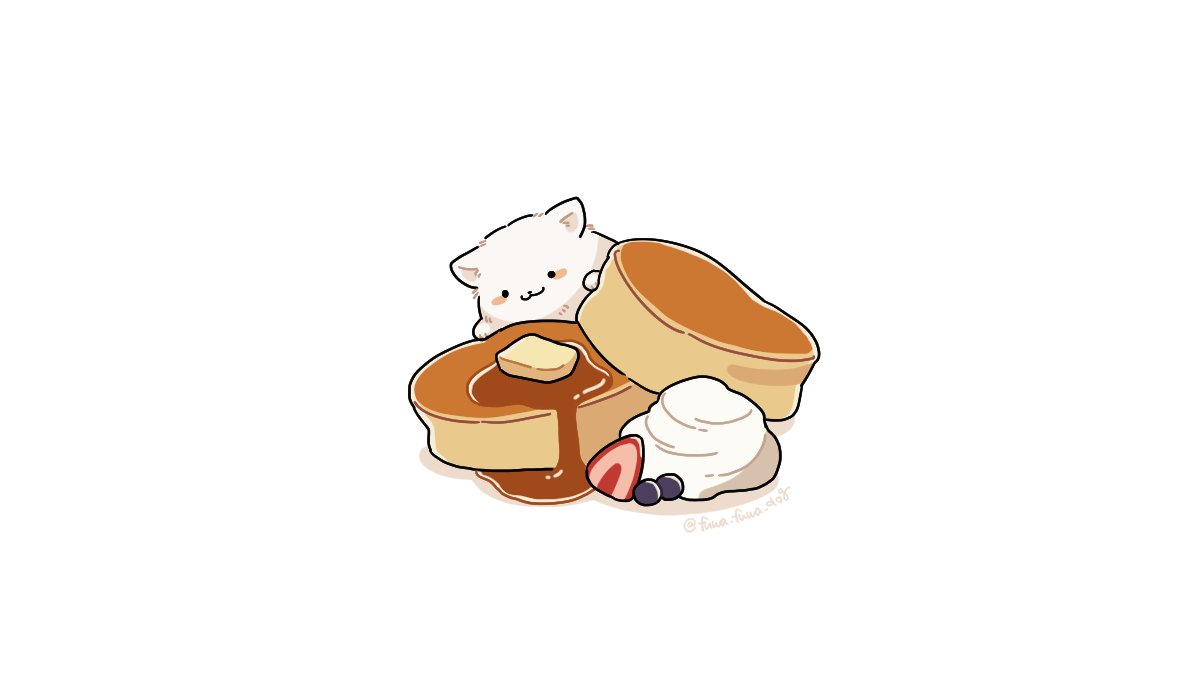 :3 animal animal_focus artist_name black_eyes blueberry blush_stickers butter closed_mouth dog fluffy food fruit fuwa_fuwa_dog in_food maple_syrup no_humans original oversized_food pancake shadow simple_background solid_circle_eyes solo strawberry syrup twitter_username whipped_cream white_background