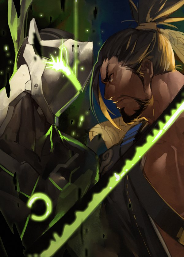 2boys battle brown_hair character_request from_side glowing glowing_sword glowing_weapon gomtang hadanugi_dousa hanzo_(overwatch) helmet japanese_clothes kimono long_sideburns male_focus mature_male medium_hair multiple_boys muscular muscular_male mutton_chops open_clothes open_kimono original overwatch pectorals profile serious sideburns tied_hair weapon