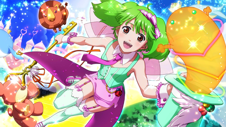 1girl :d armpits bare_arms bow coattails detached_collar game_cg garter_straps green_hair hair_bow hat hat_removed headwear_removed holding holding_clothes holding_hat looking_at_viewer macross macross_frontier macross_frontier:_sayonara_no_tsubasa necktie official_art open_mouth ranka_lee short_hair shorts sleeveless smile solo stuffed_animal stuffed_toy teddy_bear thigh-highs top_hat uta_macross_sumaho_deculture wrist_cuffs