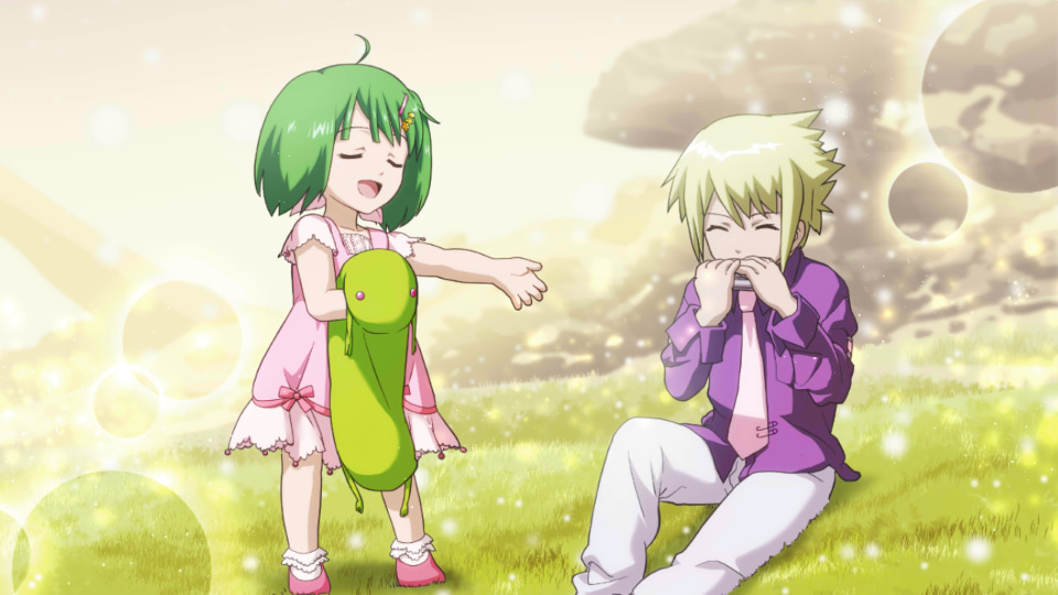 1boy 1girl blonde_hair brera_sterne brother_and_sister child closed_eyes dress game_cg green_hair hair_ornament hairclip harmonica instrument macross macross_frontier music official_art pink_dress playing_instrument ranka_lee short_hair siblings singing stuffed_toy uta_macross_sumaho_deculture younger