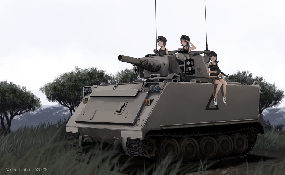 3girls :/ artist_name beret black_hair blue_hair caterpillar_tracks collarbone dead-robot grass green_eyes ground_vehicle hat hatch hill load_bearing_vest long_hair looking_at_another looking_to_the_side m113 m16a2 midriff military military_uniform military_vehicle motor_vehicle multiple_girls original outdoors ponytail radio_antenna salute shadow shoes short_hair shorts sitting skull_and_crossbones sky smile sneakers soldier tank tree uniform