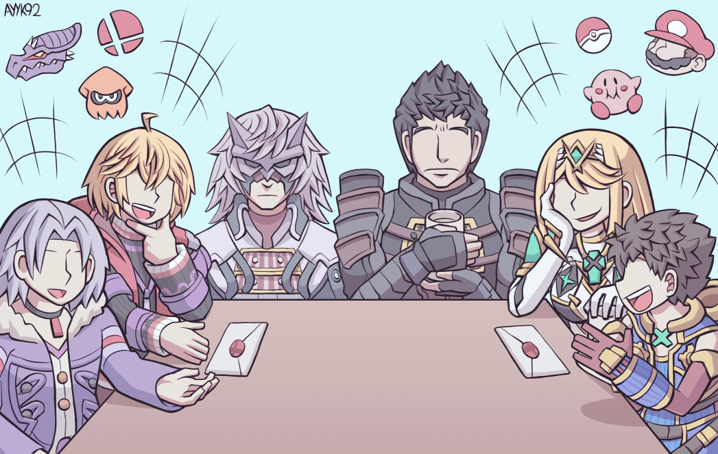 1girl 5boys alvis_(xenoblade) armor ayyk92 bangs black_hair blonde_hair blue_eyes breasts brown_hair cape chest_jewel crotchless crotchless_pants cup dark_skin dress gem gloves headpiece jin_(xenoblade) kirby kirby_(series) large_breasts long_hair male_focus malos_(xenoblade) mario super_mario_bros. mask metroid monado multiple_boys mythra_(xenoblade) open_mouth pants pokemon_(creature) rex_(xenoblade) ridley short_dress short_hair shulk_(xenoblade) smash_invitation smile super_smash_bros. swept_bangs sword tiara very_long_hair vest weapon white_dress xenoblade_chronicles xenoblade_chronicles_(series) xenoblade_chronicles_2 xenoblade_chronicles_2:_torna_-_the_golden_country yellow_eyes