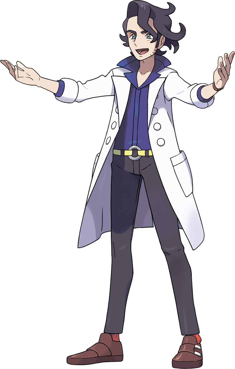 1boy augustine_sycamore bangs belt black_hair brown_footwear collared_shirt facial_hair full_body grey_eyes hands_up highres knees labcoat male_focus messy_hair official_art oomura_yuusuke open_mouth pants pokemon pokemon_(game) pokemon_xy purple_shirt red_legwear shirt shoes sleeves_rolled_up smile socks solo standing teeth tongue transparent_background yellow_belt