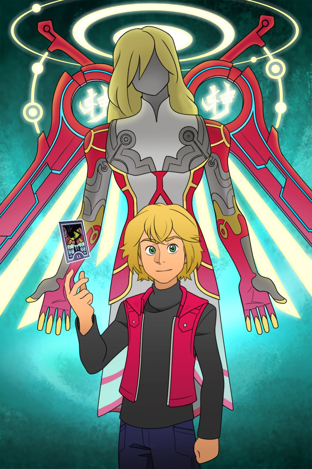 1boy armor blonde_hair blue_eyes card gloves guilhermerm highres looking_at_viewer male_focus monado persona short_hair shulk_(xenoblade) simple_background smile spoilers super_smash_bros. sword vest weapon wings xenoblade_chronicles xenoblade_chronicles_(series)