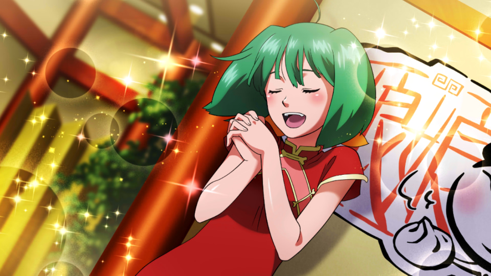 1girl ahoge blush china_dress chinese_clothes closed_eyes dress eyebrows_behind_hair game_cg green_hair hands_clasped indoors macross macross_frontier official_art own_hands_together ranka_lee short_hair solo uta_macross_sumaho_deculture