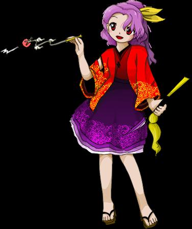 1girl :d dress fan geta japanese_clothes kimono kiseru komakusa_sannyo lowres open_mouth patterned pipe ponytail purple_dress purple_hair red_eyes red_kimono sandals smile smoke solo touhou unconnected_marketeers zun_(artist)