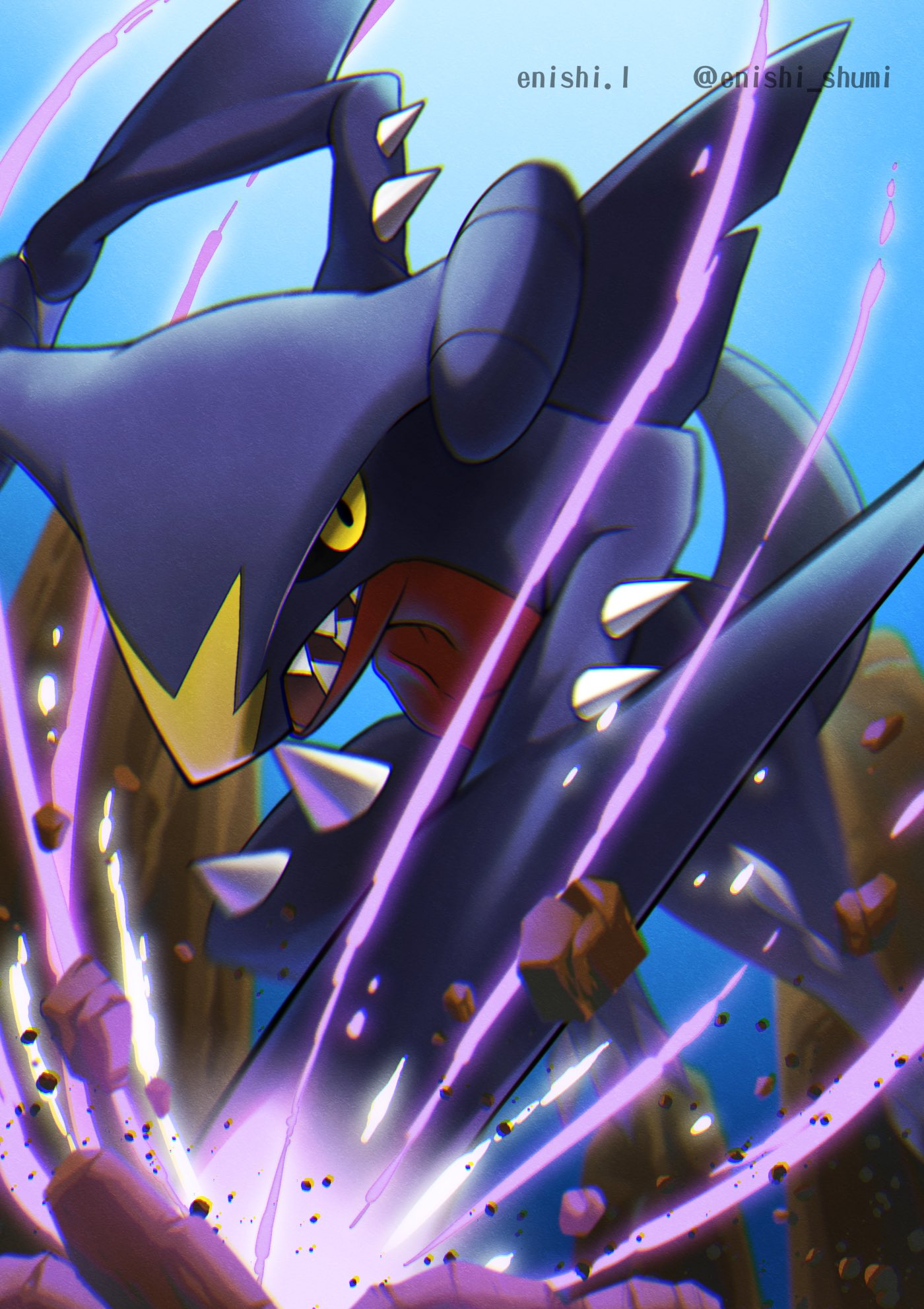 artist_name black_sclera colored_sclera commentary_request dragon_claw enishi_(menkura-rin10) from_below garchomp gen_4_pokemon highres looking_at_viewer no_humans open_mouth pokemon pokemon_(creature) rock sharp_teeth solo teeth yellow_eyes