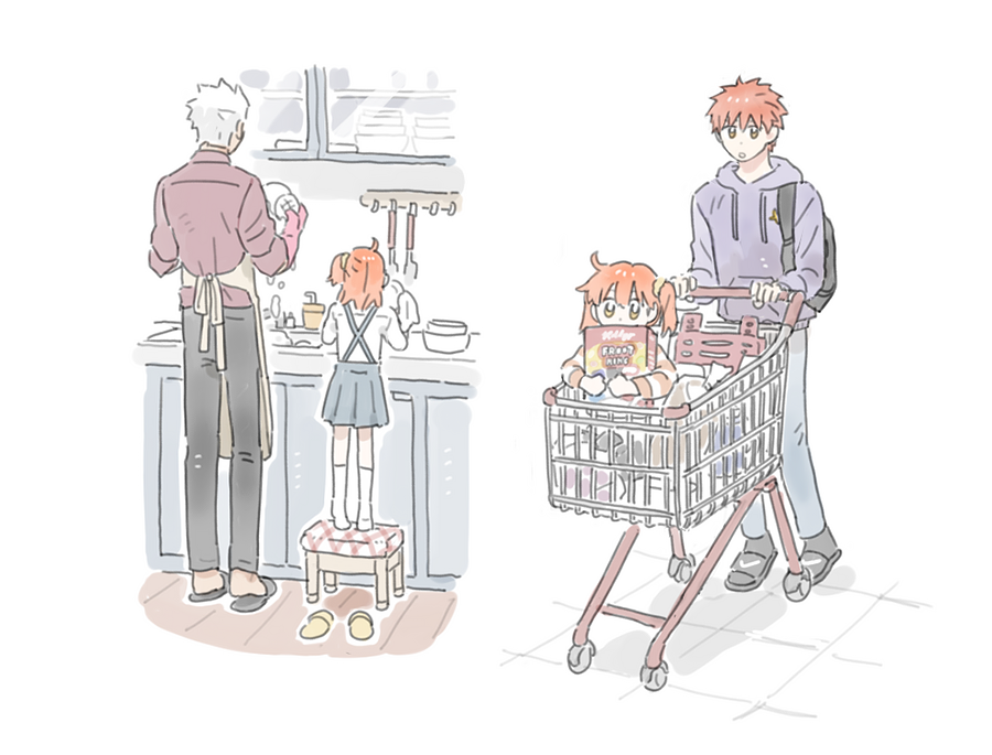 1girl 2boys ahoge apron archer backpack bag brown_eyes cczyjs dishwashing emiya_shirou fate/grand_order fate/stay_night fate_(series) fujimaru_ritsuka_(female) height_difference hood hoodie multiple_boys orange_hair scrunchie shopping_cart side_ponytail simple_background slippers standing stool white_background white_hair younger
