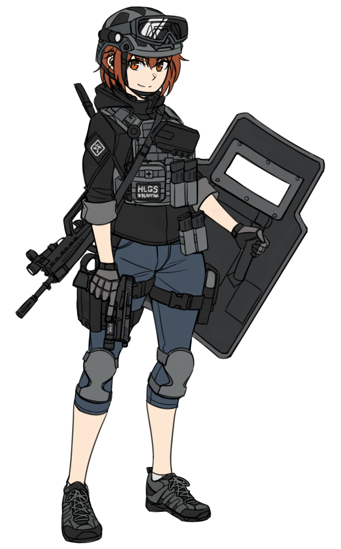 1girl ankle_socks bangs black_footwear black_shirt blue_pants brown_hair closed_mouth eyebrows_visible_through_hair gloves goggles goggles_on_headwear grey_gloves grey_headwear grey_legwear gun hair_between_eyes handgun helmet holding holding_gun holding_shield holding_weapon knee_pads looking_at_viewer ndtwofives original pants pistol red_eyes riot_shield shield shirt shoes simple_background smile solo trigger_discipline weapon weapon_request white_background