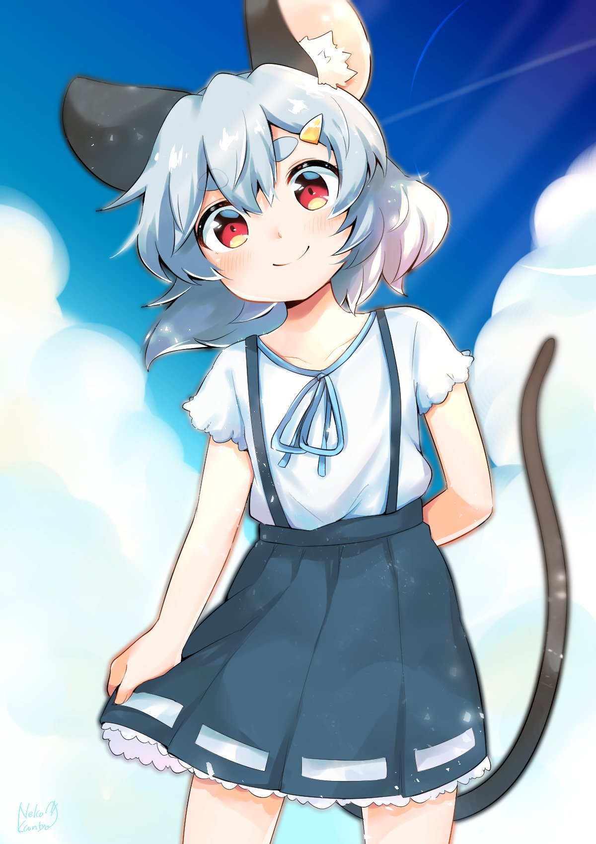 1girl alternate_costume animal_ears arm_behind_back bangs blouse blue_sky closed_mouth clouds commentary_request condensation_trail cowboy_shot frilled_skirt frilled_sleeves frills grey_hair grey_skirt hair_between_eyes hair_ornament hairpin highres looking_at_viewer mouse_ears mouse_girl mouse_tail nazrin red_eyes short_hair signature skirt skirt_pull sky smile solo suspender_skirt suspenders tail take_no_ko_(4919400) thick_eyebrows touhou white_blouse