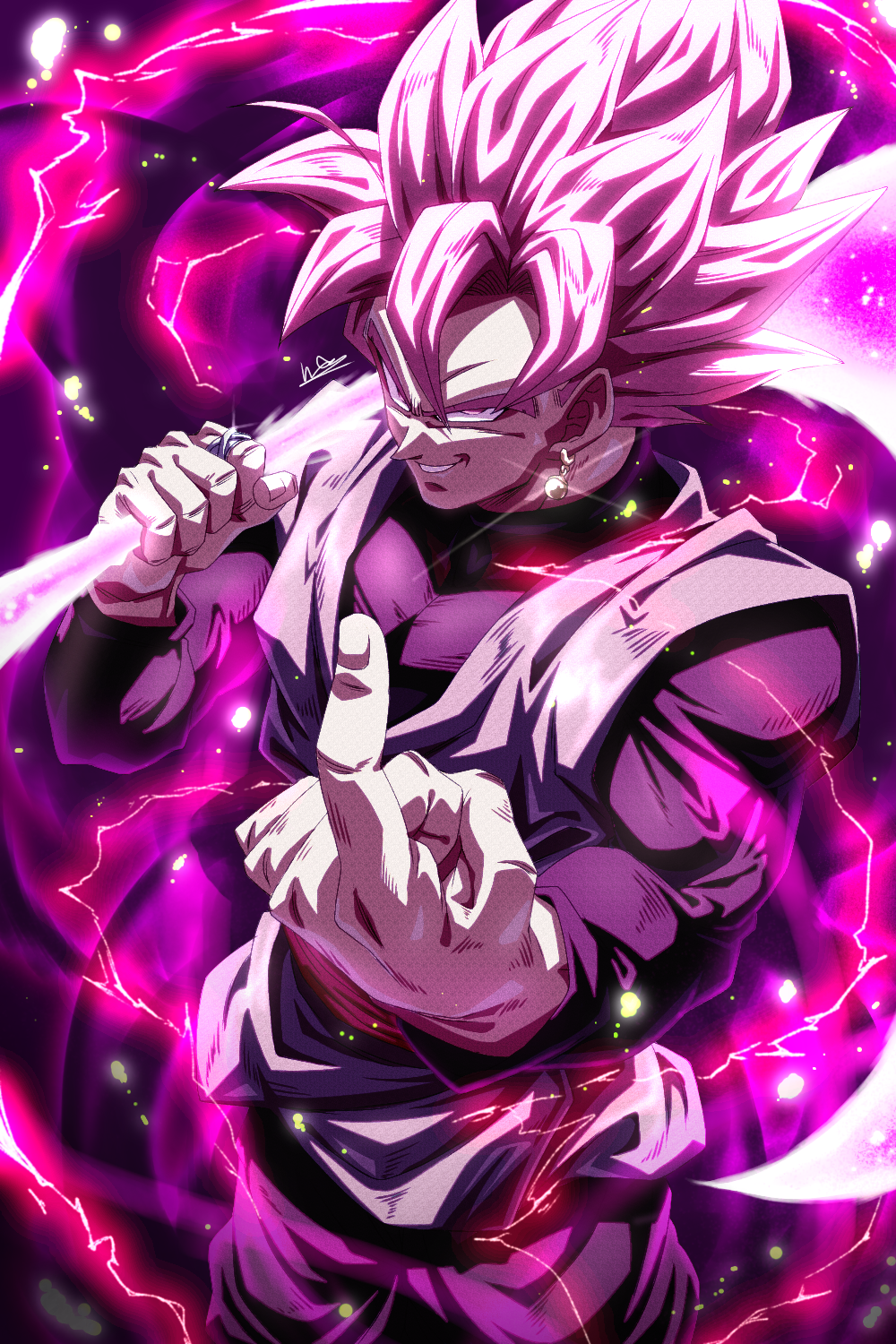 1boy commentary_request cowboy_shot dougi dragon_ball dragon_ball_super earrings electricity evil_grin evil_smile fingernails from_above glint goku_black grin hand_up highres holding holding_scythe holding_weapon ibispaint_(medium) index_finger_raised jewelry light_particles long_sleeves looking_at_viewer male_focus muscular muscular_male over_shoulder pink_eyes pink_hair pink_theme potara_earrings ring sash scythe sekitsuki_hayato signature single_earring smile solo spiky_hair super_saiyan super_saiyan_rose weapon weapon_over_shoulder