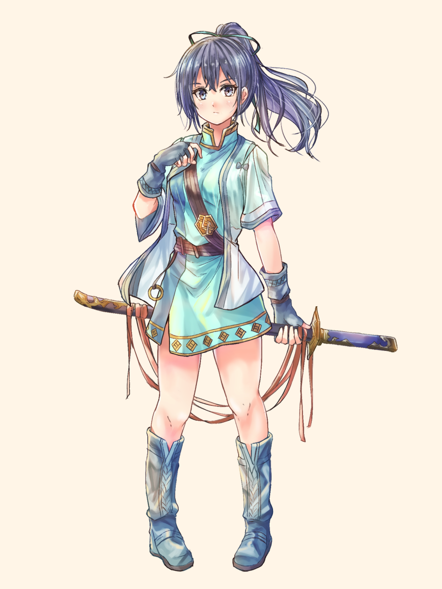 1girl aqua_dress bangs beige_background belt blue_hair boots commentary_request dress fingerless_gloves fir_(fire_emblem) fire_emblem fire_emblem:_the_binding_blade full_body fuussu_(21-kazin) gloves grey_eyes grey_footwear grey_gloves grey_jacket hair_ribbon hand_up highres holding holding_sword holding_weapon jacket long_hair looking_at_viewer open_clothes open_jacket ponytail ribbon scabbard sheath sheathed short_dress short_sleeves simple_background solo standing sword weapon