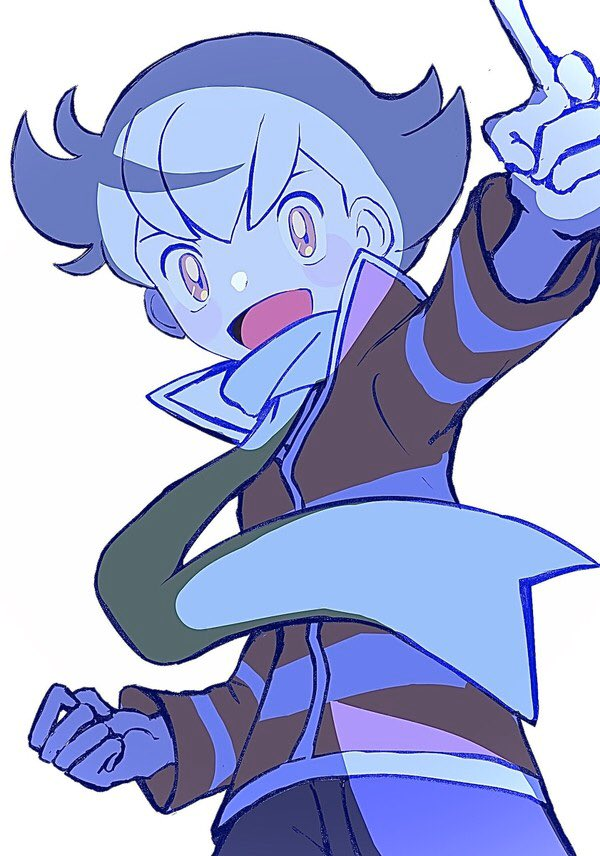 1boy :d bangs barry_(pokemon) blush_stickers commentary_request floating_scarf from_below green_scarf long_sleeves looking_at_viewer male_focus open_mouth pants pokemon pokemon_(game) pokemon_dppt pokemon_platinum scarf short_hair smile solo tongue zonbi4771