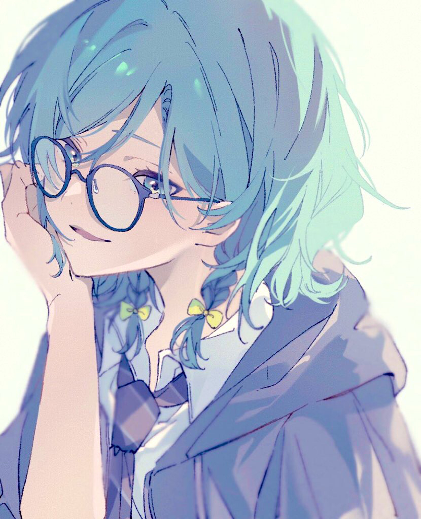 1girl aqua_hair bang_dream! bangs beige_background bespectacled black-framed_eyewear blurry bow braid collared_shirt depth_of_field diagonal-striped_neckwear diagonal_stripes glasses green_eyes grey_jacket grey_neckwear hair_bow hand_on_own_cheek hand_on_own_face hand_up head_rest hikawa_hina hood hood_down hooded_jacket jacket looking_at_viewer looking_over_eyewear mameko_(l8_w3) medium_hair necktie open_clothes open_jacket parted_lips shirt side_braids simple_background smile solo striped striped_neckwear swept_bangs twin_braids upper_body white_shirt yellow_bow