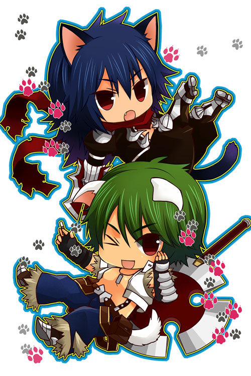 2boys ;d animal_ears armor assassin_cross_(ragnarok_online) axe bangs belt black_gloves black_pants black_shirt blue_hair blue_pants brown_belt brown_footwear cat_boy cat_ears cat_tail chibi cigarette commentary_request crop_top dog_boy dog_ears dog_tail eremes_guile eyebrows_visible_through_hair eyes_visible_through_hair fang fingerless_gloves full_body fur-trimmed_pants gauntlets gloves green_hair hair_between_eyes howard_alt-eisen long_hair looking_at_viewer male_focus multiple_boys one_eye_closed open_clothes open_mouth open_shirt pants pauldrons paw_print pouch ragnarok_online red_eyes red_scarf scarf shirt shoes short_hair shoulder_armor smile sptbird suspenders tail torn_clothes torn_scarf torn_shirt white_background white_shirt whitesmith_(ragnarok_online)