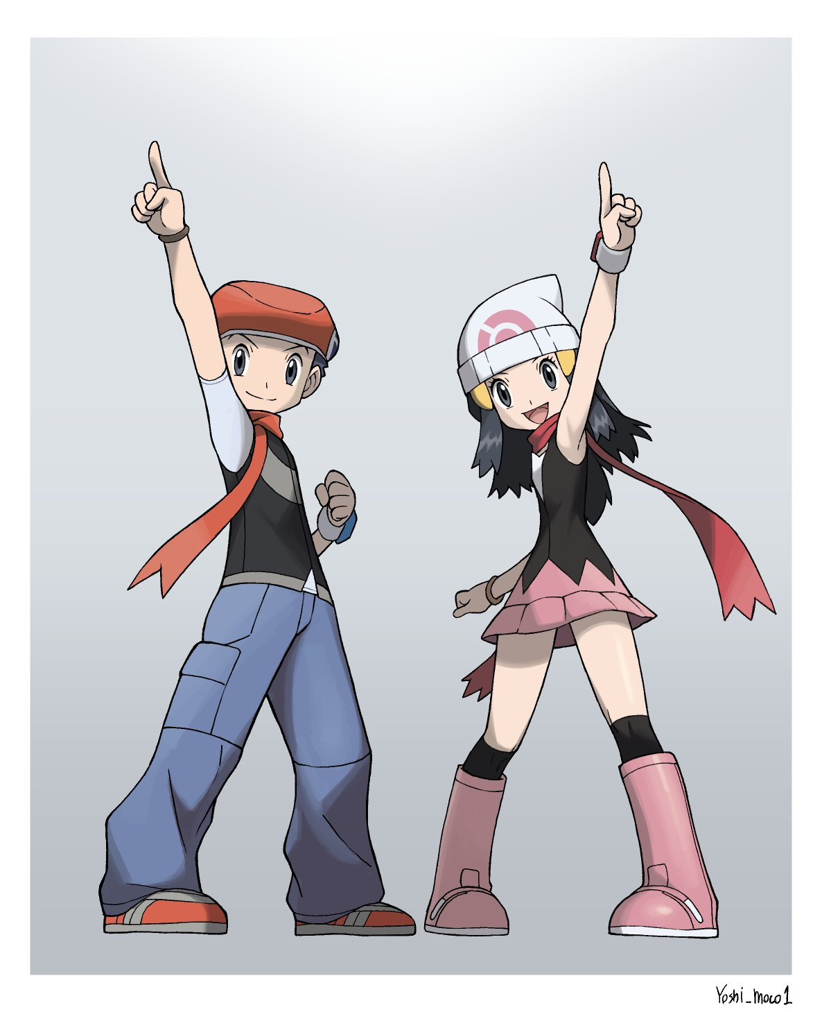 1boy 1girl :d arm_up artist_name beanie black_hair black_legwear boots border bracelet clenched_hand dawn_(pokemon) eyelashes grey_eyes grey_pants hair_ornament hairclip hat highres index_finger_raised jewelry long_hair lucas_(pokemon) open_mouth over-kneehighs pants pokemon pokemon_(game) pokemon_dppt red_scarf scarf shoes short_sleeves smile thigh-highs tongue white_border white_headwear yoshi_(moco1)