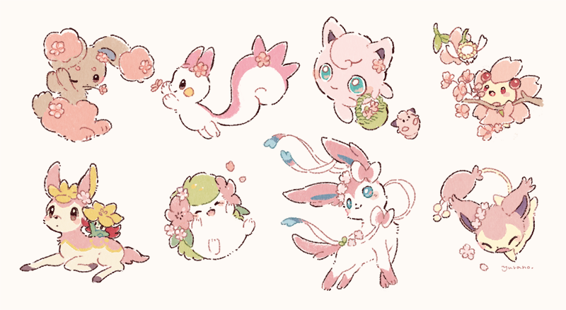 alternate_color basket blue_eyes blush buneary cherrim cherrim_(sunshine) cleffa closed_eyes closed_mouth deerling flabebe flower gen_1_pokemon gen_2_pokemon gen_3_pokemon gen_4_pokemon gen_5_pokemon gen_6_pokemon gen_8_pokemon gossifleur holding holding_flower jigglypuff looking_at_another looking_back mouth_hold mythical_pokemon no_humans pachirisu pokemon pokemon_(creature) shaymin shaymin_(land) shiny_pokemon signature skitty smile sylveon toes yurano_(upao)  d