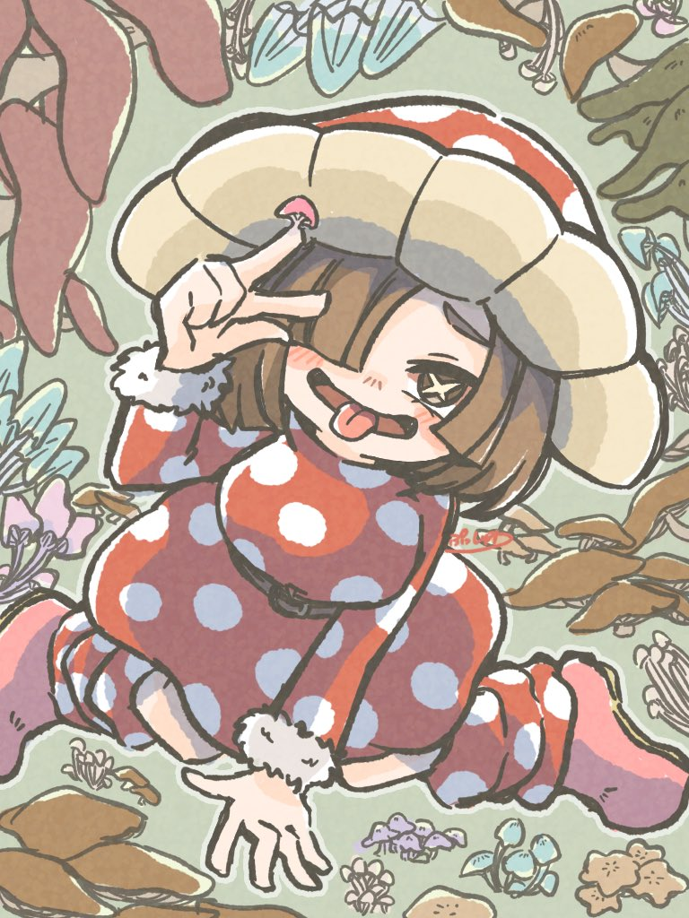 1girl bangs belt blush boku_no_hero_academia boots brown_eyes brown_hair commentary_request dress fur_trim green_background hair_over_one_eye hat komori_kinoko long_sleeves mushroom mushroom_hat open_mouth pink_footwear polka_dot polka_dot_dress pusshwa red_dress short_hair smile solo symbol_commentary tongue tongue_out w x-shaped_pupils