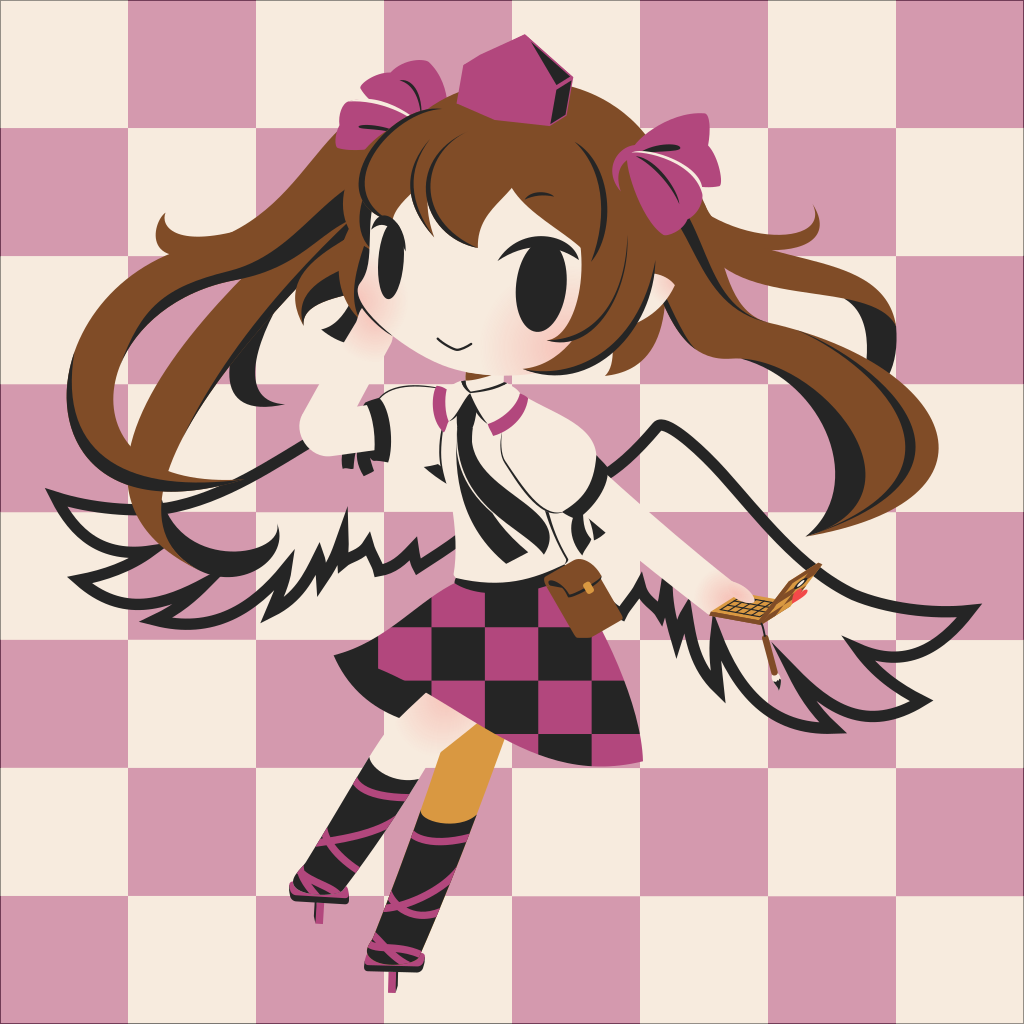 1girl arm_behind_head black_legwear black_neckwear brown_hair cellphone cellphone_charm checkered checkered_background checkered_skirt chibi closed_mouth cobalta collared_shirt commentary_request eyebrows_visible_through_hair geta hair_ribbon hat himekaidou_hatate long_hair multicolored multicolored_background multicolored_clothes multicolored_skirt necktie phone pink_ribbon pointy_ears pouch ribbon shirt skirt smile tengu-geta tokin_hat touhou twintails white_shirt wings