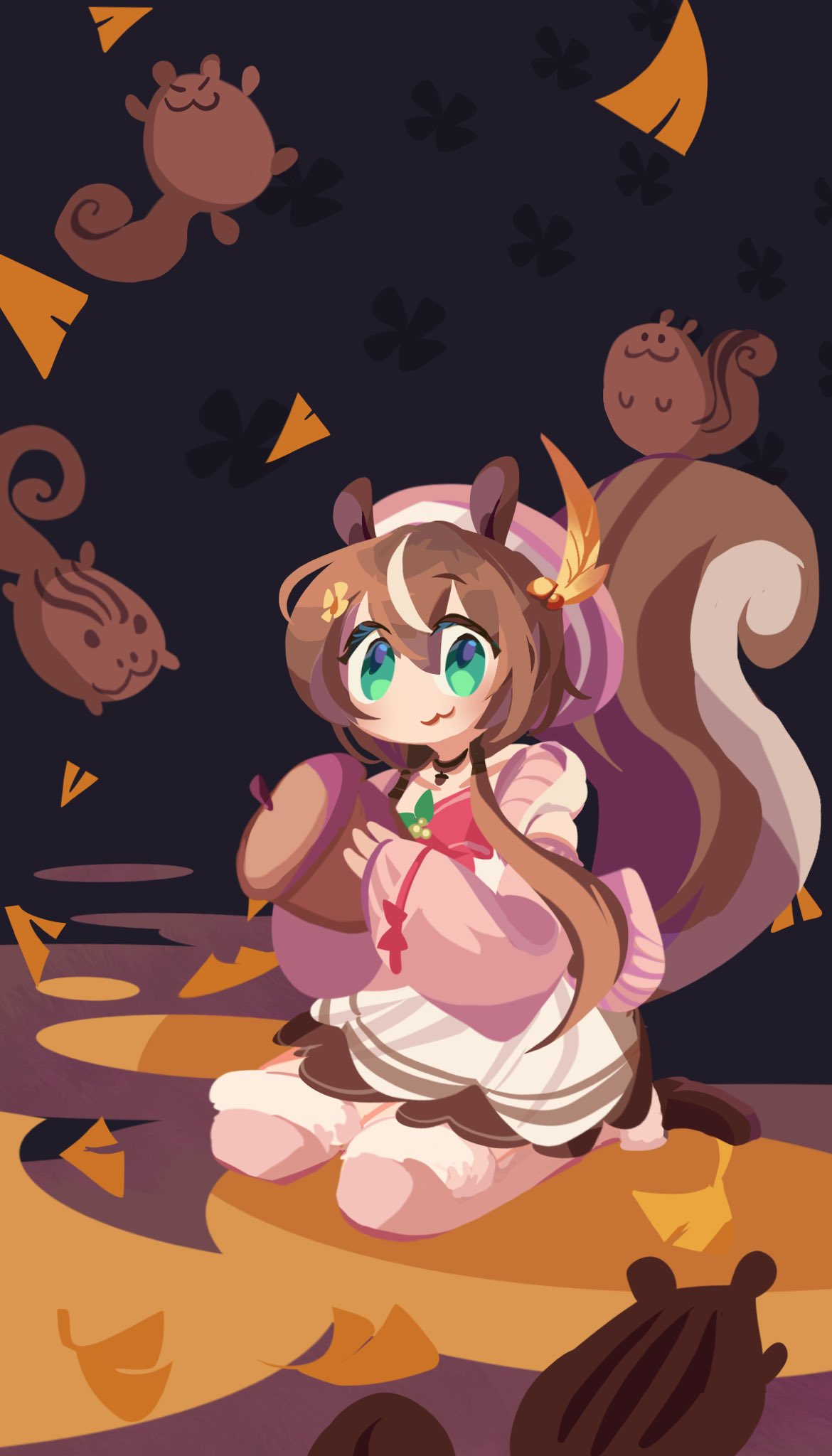 1girl :3 acorn animal_ears autumn_leaves ayunda_risu beret brown_hair choker flower green_eyes hair_flower hair_leaf hair_ornament hat highres hololive hololive_indonesia long_hair looking_at_viewer pink_headwear pink_sweater solo squirrel squirrel_ears squirrel_girl squirrel_tail sweater tail twintails virtual_youtuber xyzal