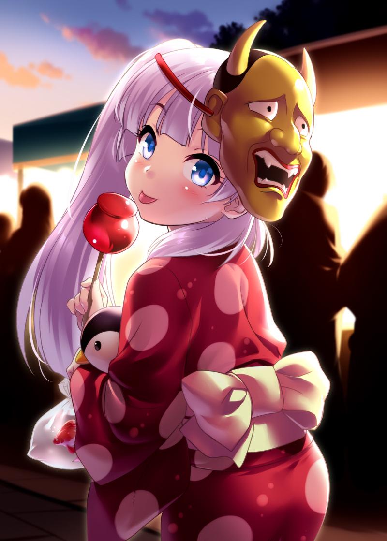 1girl bangs blue_eyes blunt_bangs candy_apple cowboy_shot festival food japanese_clothes kamisama_ni_natta_hi kimono long_hair looking_at_viewer mask mask_on_head night noh_mask oni_mask outdoors pink_hair polka_dot polka_dot_kimono red_kimono satou_hina_(kamisama_ni_natta_hi) side_ponytail solo tongue tongue_out zen