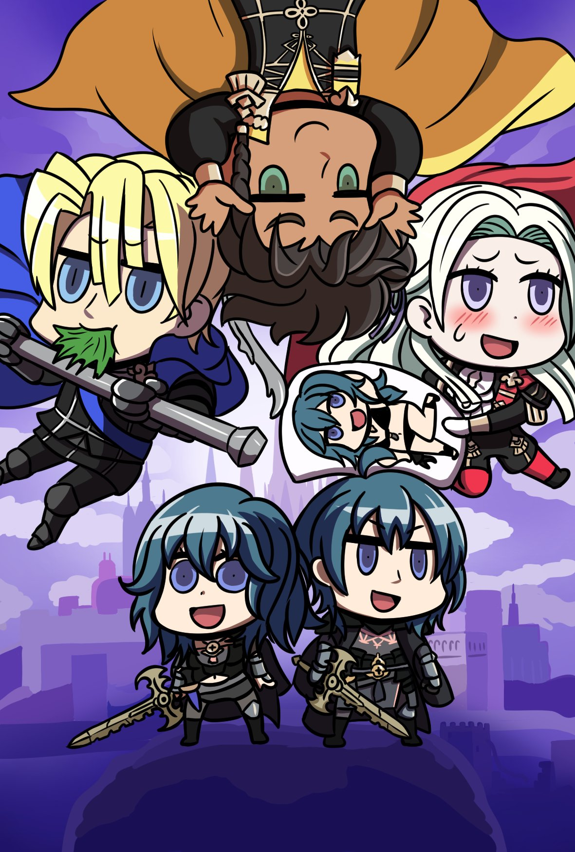 2girls 3boys :d blue_cape blue_eyes box_art byleth_(fire_emblem) byleth_(fire_emblem)_(female) byleth_(fire_emblem)_(male) cape chibi claude_von_riegan dakimakura_(object) dark_skin dark_skinned_male dimitri_alexandre_blaiddyd dual_persona eating edelgard_von_hresvelg fire_emblem fire_emblem:_three_houses green_eyes highres holding holding_sword holding_weapon multiple_boys multiple_girls open_mouth pillow red_cape riyo_(lyomsnpmp)_(style) smile sword sword_of_the_creator upside-down violet_eyes weapon will_(willanator93) yellow_cape