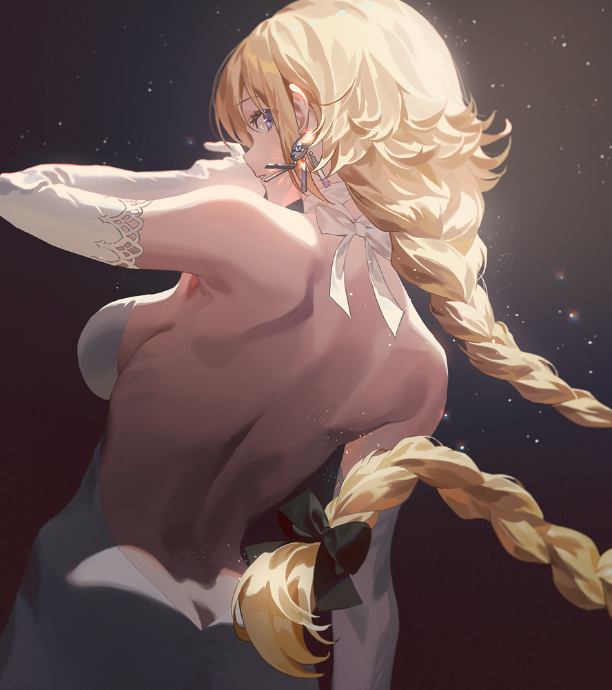 1girl bare_back bare_shoulders black_bow blonde_hair blue_eyes bow braid breasts butt_crack choker dress duplicate earrings elbow_gloves fajyobore fate/apocrypha fate_(series) from_behind gloves hair_bow jeanne_d'arc_(fate) jeanne_d'arc_(fate)_(all) jewelry long_hair looking_at_viewer looking_back medium_breasts sideboob single_braid solo white_choker white_dress white_gloves
