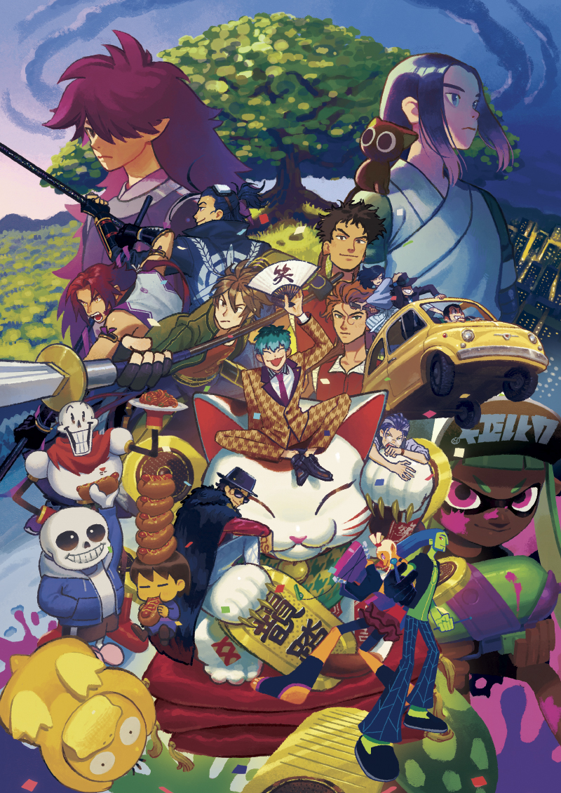 6+boys aqua_hair arsene_lupin_iii bangs black_cat black_footwear black_hair black_headwear blue_hair blunt_bangs brown_hair car cat character_request city colored_skin copyright_request crossover fengxi_(the_legend_of_luoxiaohei) food food_on_head frisk_(undertale) gen_1_pokemon ground_vehicle hot_dog inkling ishikawa_goemon_xiii jigen_daisuke jinkichi long_hair looking_at_viewer luoxiaohei lupin_iii mayday_(no_straight_roads) motor_vehicle multiple_boys no_straight_roads object_on_head papyrus_(undertale) pasta pink_eyes pink_footwear pokemon pokemon_(creature) psyduck purple_hair sans short_hair slippers spaghetti splatoon_(series) tentacle_hair the_legend_of_luo_xiaohei tree undertale wuxian_(the_legend_of_luoxiaohei) yellow_skin zuke_(no_straight_roads)