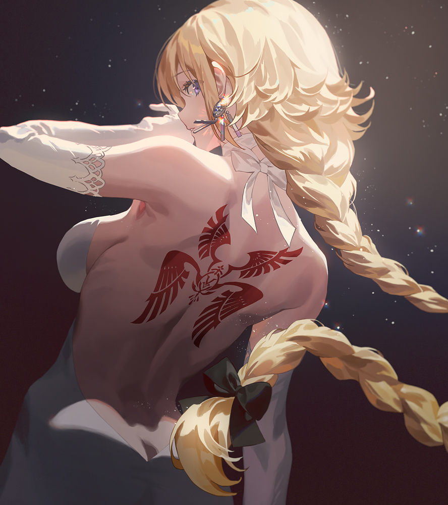 1girl back_tattoo bare_back bare_shoulders black_bow blonde_hair blue_eyes bow braid breasts butt_crack choker dress duplicate earrings elbow_gloves fajyobore fate/apocrypha fate_(series) from_behind gloves hair_bow jeanne_d'arc_(fate) jeanne_d'arc_(fate)_(all) jewelry long_hair looking_at_viewer looking_back medium_breasts sideboob single_braid solo tattoo white_choker white_dress white_gloves